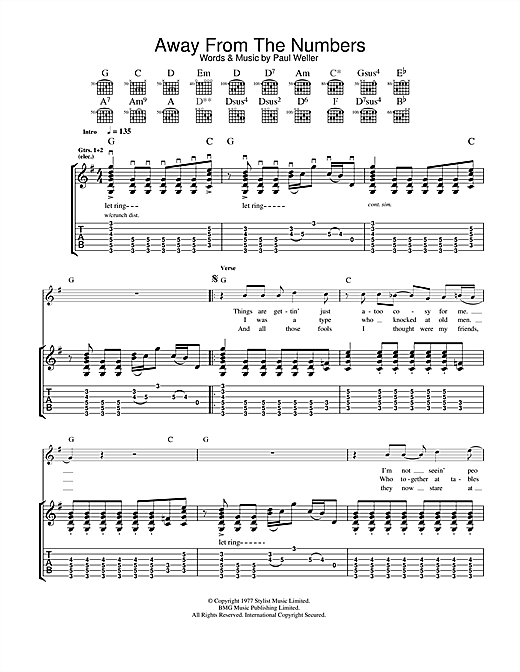 Tablature guitare Away From The Numbers de The Jam - Tablature Guitare