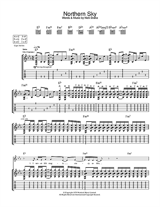 Tablature guitare Northern Sky de Nick Drake - Tablature Guitare