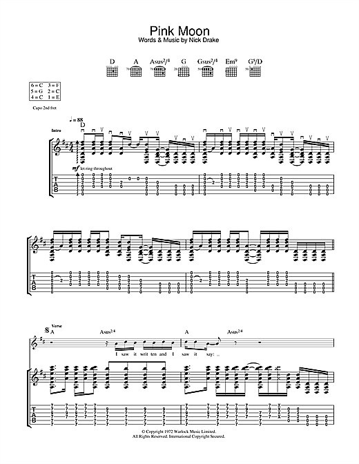 Pink Moon Sheet Music