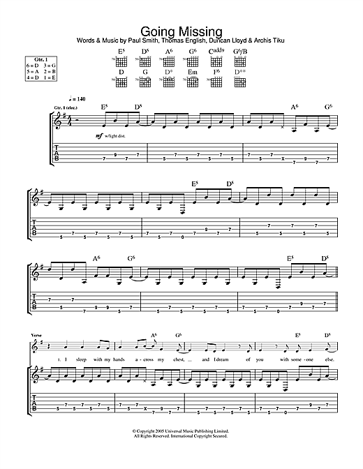 Going Missing Sheet Music