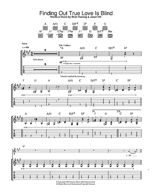 Finding Out True Love Is Blind Sheet Music