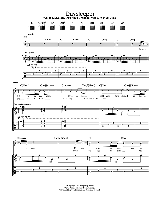 Tablature guitare Daysleeper de R.E.M. - Tablature Guitare