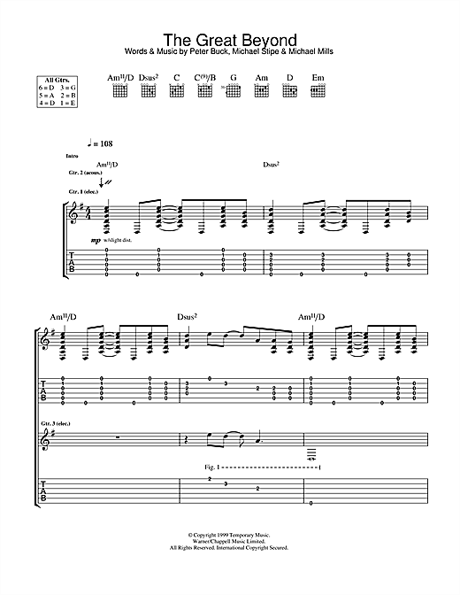 Tablature guitare The Great Beyond de R.E.M. - Tablature Guitare