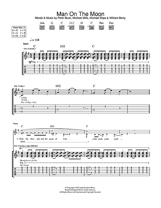 Man On The Moon Guitar Chords