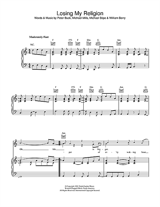 Losing My Religion Sheet Music