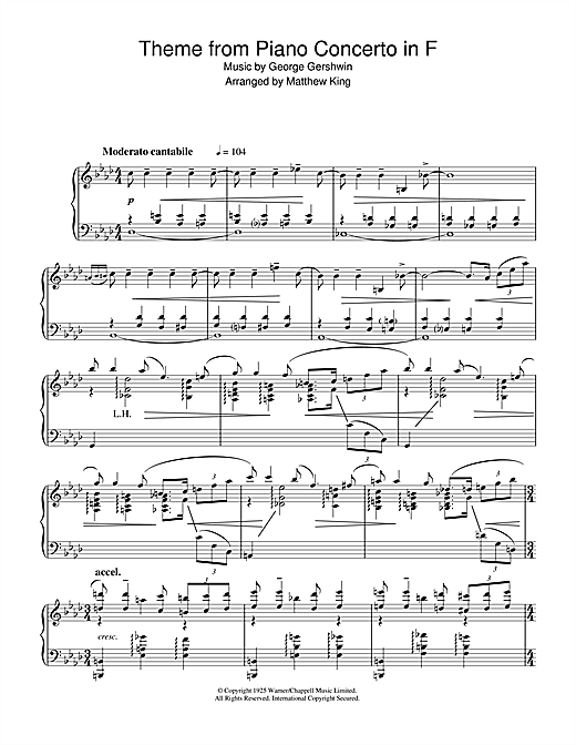 Partition piano Theme from Piano Concerto In F de George Gershwin - Piano Solo