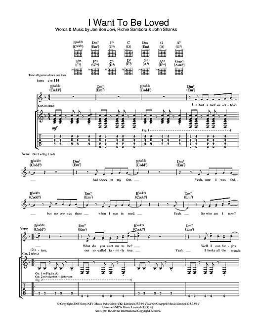 Tablature guitare I Want To Be Loved de Bon Jovi - Tablature Guitare