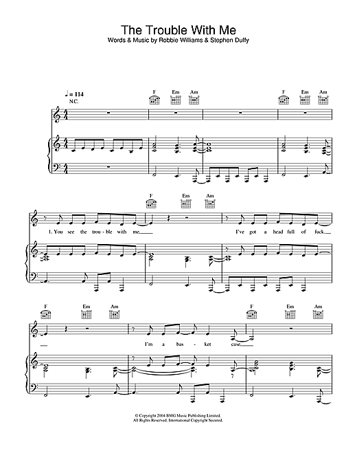 The Trouble With Me Sheet Music