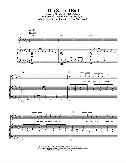 The Sacred Bird (from Miss Saigon) Sheet Music