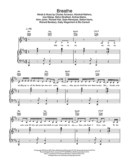 Breathe (feat. Sean Paul) Sheet Music