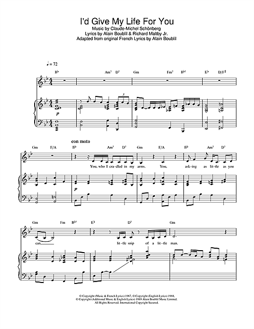 I'd Give My Life For You (from Miss Saigon) Sheet Music