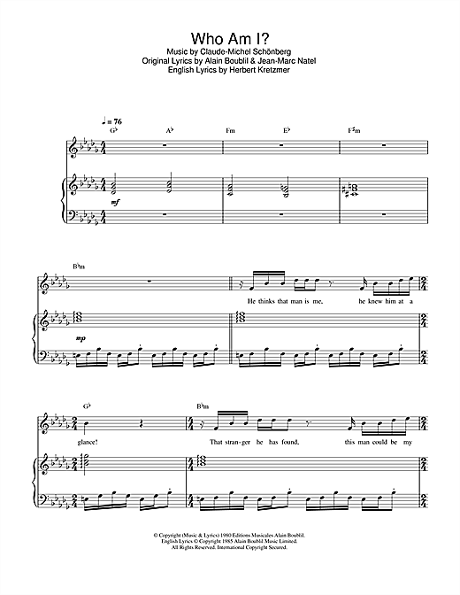 Who Am I? (from Les Miserables) Sheet Music