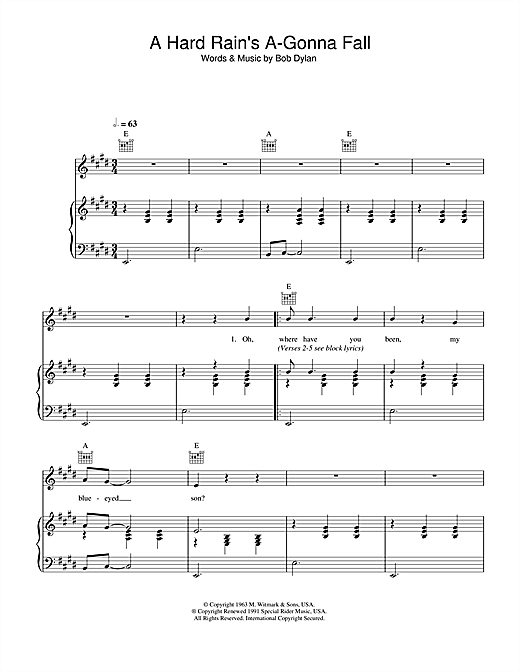 A Hard Rain's A-Gonna Fall Sheet Music