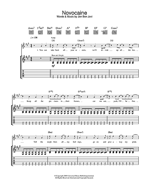 Novocaine Sheet Music