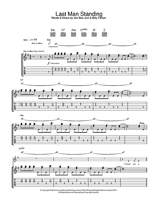 Tablature guitare Last Man Standing de Bon Jovi - Tablature Guitare