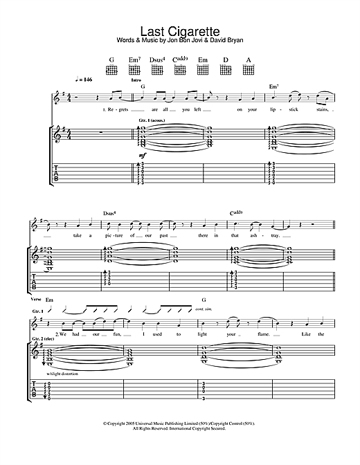 Tablature guitare Last Cigarette de Bon Jovi - Tablature Guitare