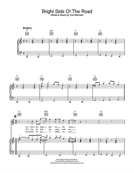 Bright Side Of The Road (Piano, Vocal & Guitar (Right-Hand Melody))