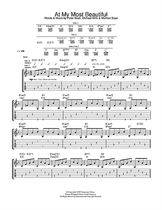 Tablature guitare At My Most Beautiful de R.E.M. - Tablature Guitare
