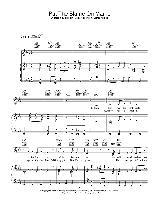 Put The Blame On Mame Sheet Music