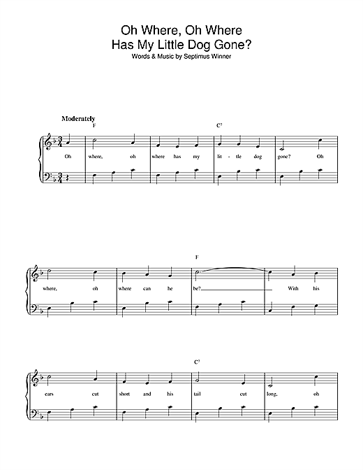 Oh Where, Oh Where Has My Little Dog Gone? Sheet Music