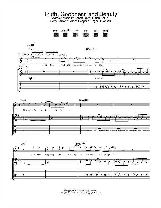 Truth, Goodness And Beauty (Guitar Tab)