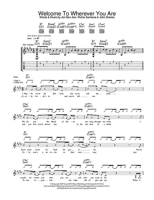 Welcome To Wherever You Are Sheet Music