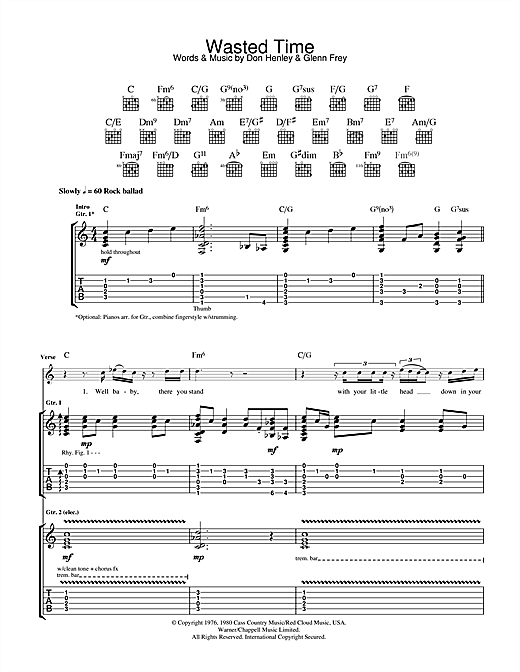 Wasted Time Sheet Music