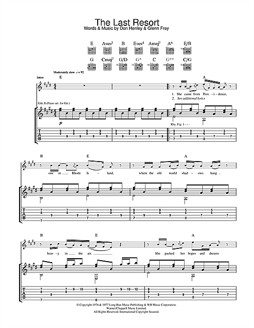 Tablature guitare The Last Resort de The Eagles - Tablature Guitare
