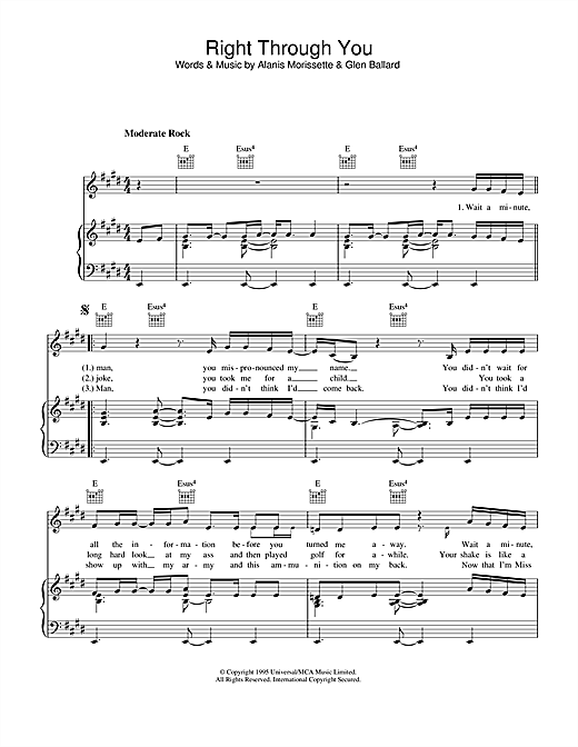 Right Through You (Piano, Vocal & Guitar (Right-Hand Melody))