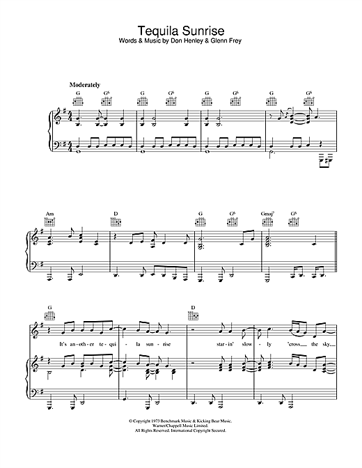 Tequila Sunrise (Piano, Vocal & Guitar (Right-Hand Melody))