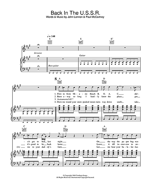 Partition piano Back In The USSR de The Beatles - Piano Voix Guitare