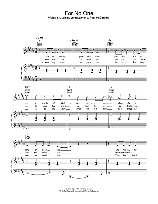 Partition piano For No One de The Beatles - Piano Voix Guitare