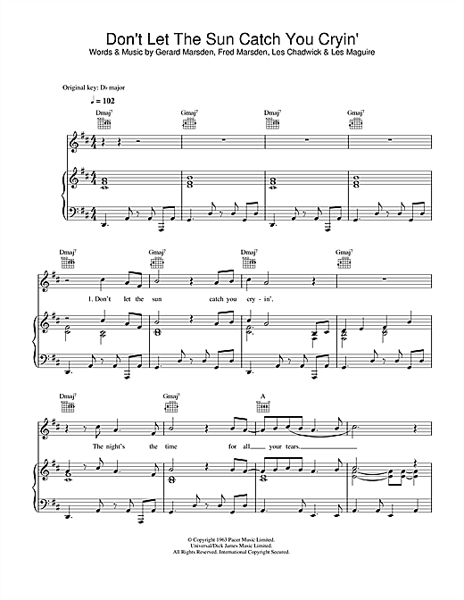 Don't Let The Sun Catch You Crying Sheet Music