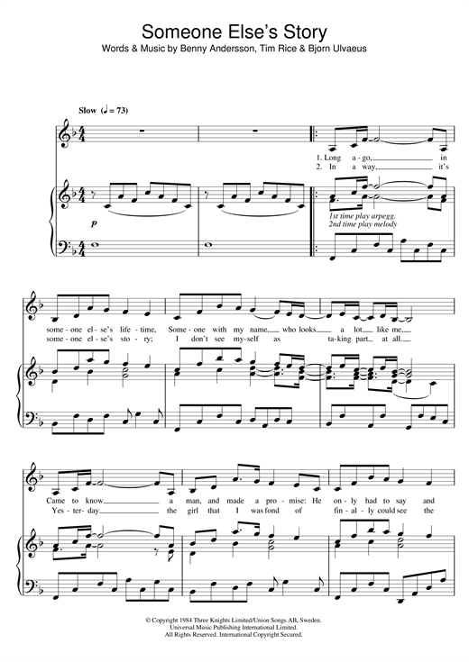 Someone Else's Story (from Chess) Sheet Music