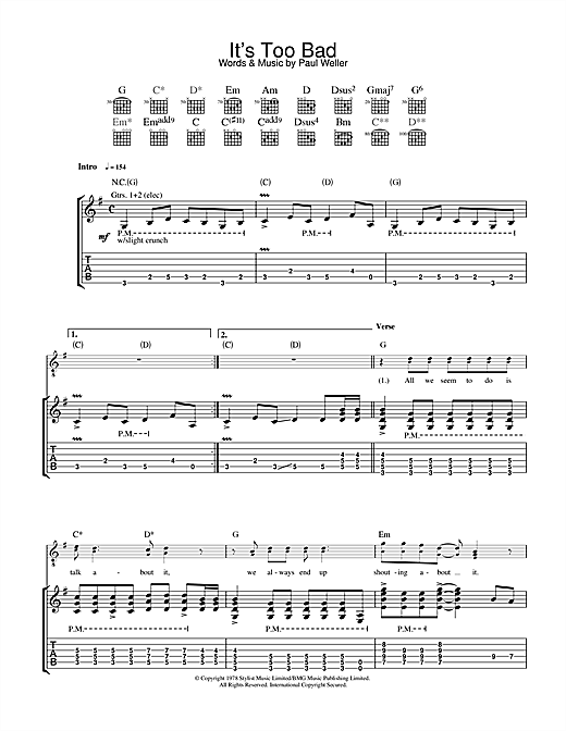 Tablature guitare It's Too Bad de The Jam - Tablature Guitare