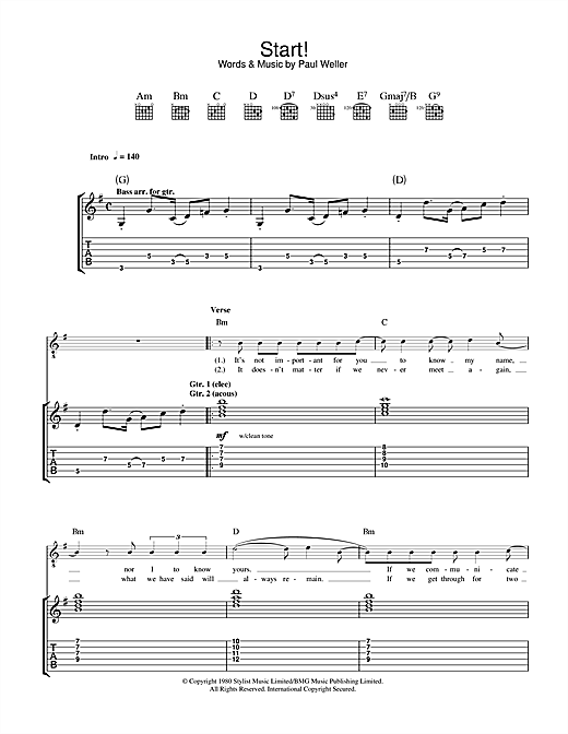 Tablature guitare Start! de The Jam - Tablature Guitare
