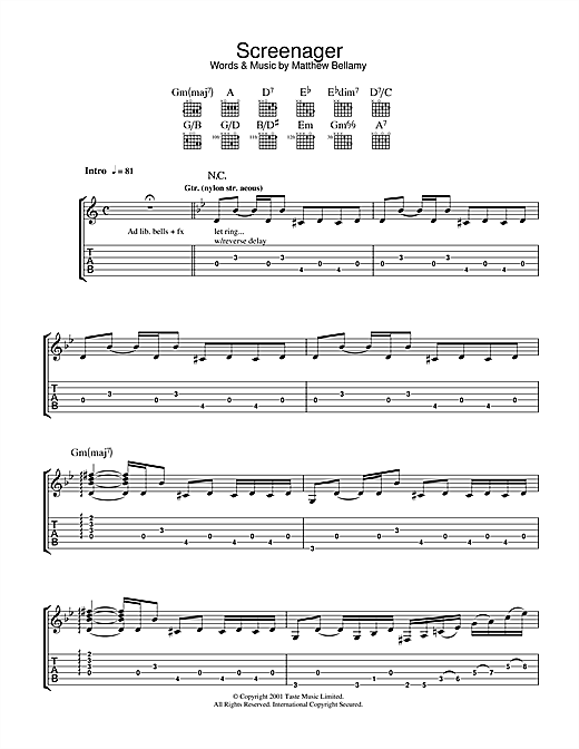 Screenager Sheet Music