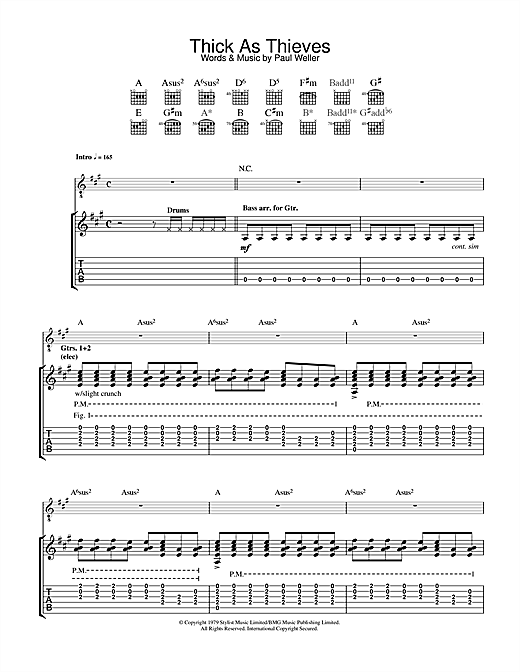 Tablature guitare Thick As Thieves de The Jam - Tablature Guitare