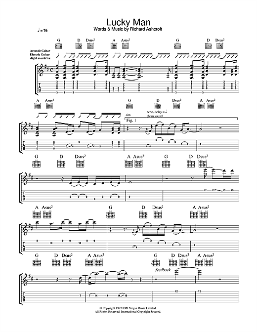 Lucky Man (Guitar Tab)