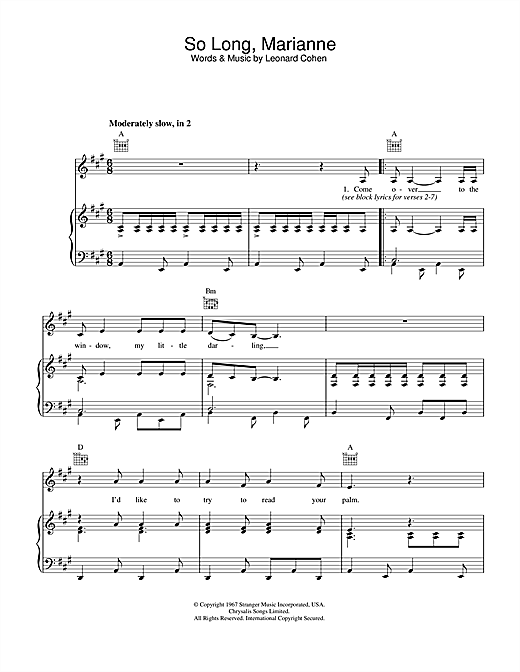 So Long, Marianne (Piano, Vocal & Guitar (Right-Hand Melody))
