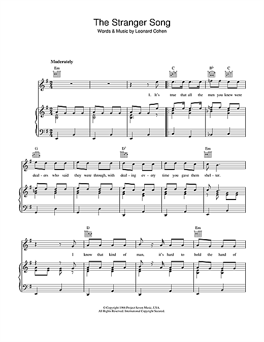 The Stranger Song (Piano, Vocal & Guitar (Right-Hand Melody))