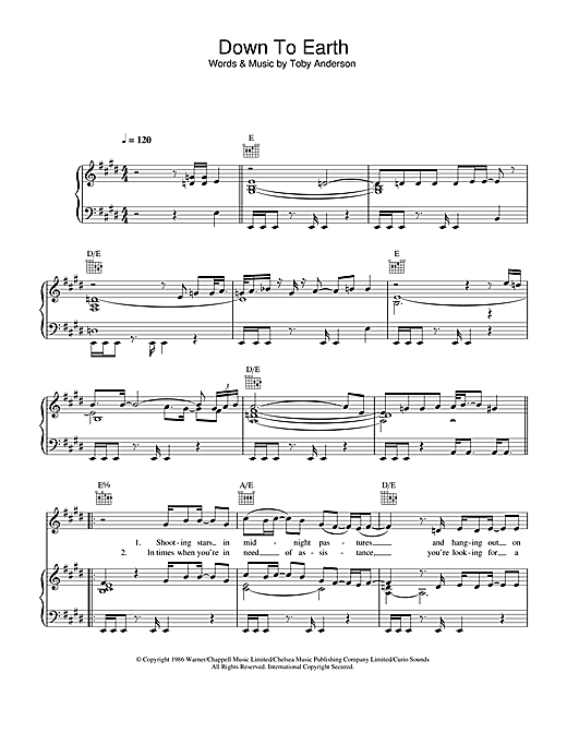 Down To Earth Sheet Music