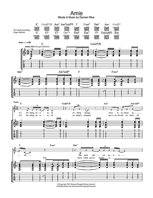 Amie Sheet Music