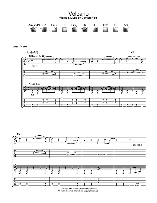 Guitar young volcanoes guitar chords : Volcano Guitar Tab by Damien Rice (Guitar Tab – 33603)