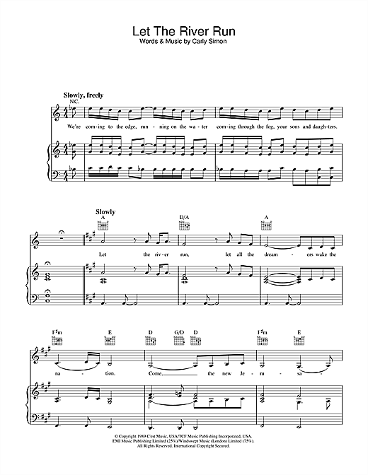 Let The River Run Sheet Music