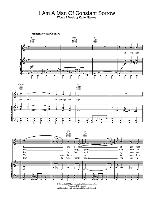 I Am A Man Of Constant Sorrow (from O Brother Where Art Thou?) Sheet Music