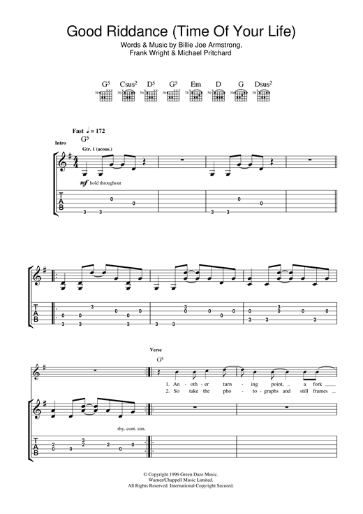 Tablature guitare Good Riddance (Time Of Your Life) de Green Day - Tablature Guitare