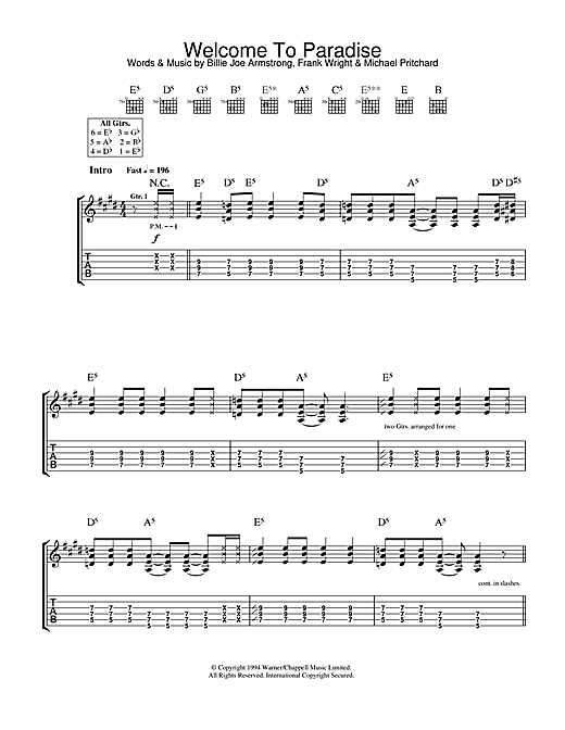 Tablature guitare Welcome To Paradise de Green Day - Tablature Guitare