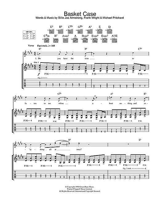 Basket Case Guitar Tab By Green Day Guitar Tab 33641