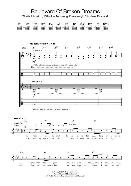 Boulevard Of Broken Dreams Guitar Tab by Green Day (Guitar Tab – 33642)